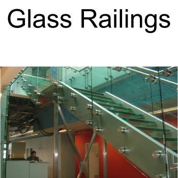 Glass Railing with standoffs on Stainless steel stringer