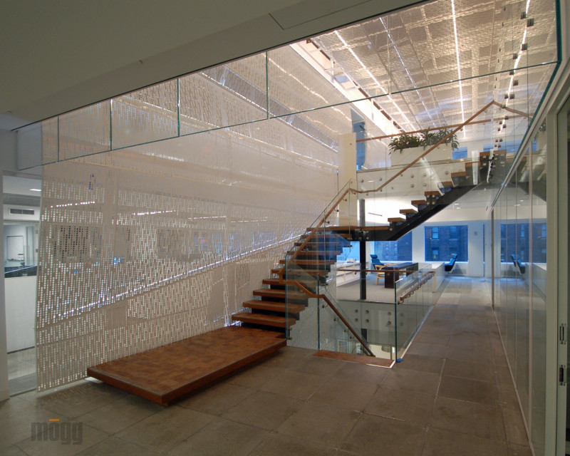 wooden open stairs with glass railing and standoffs