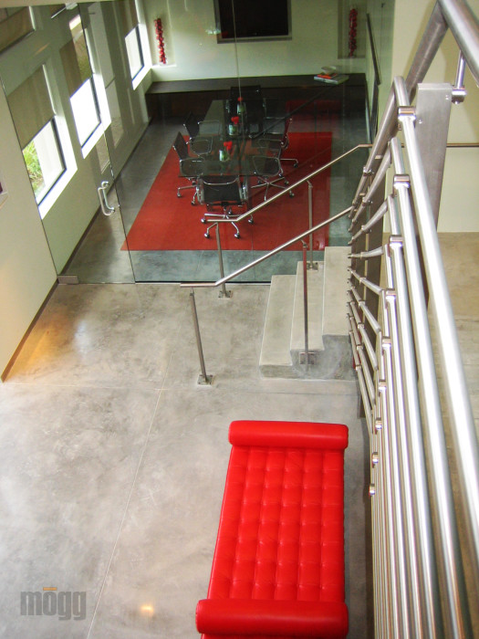 stainless steel railing system in the contemporary office